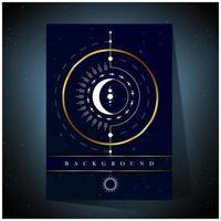 Fondo de diseño de círculo dorado y luna blanca