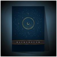 Golden concentric circle and moon space background vector