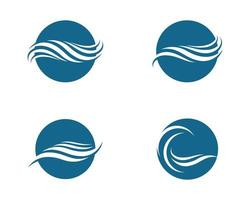 Blue Water Circular Wave Logo Set  vector