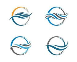 Round Water Wave Logo Set