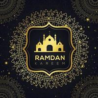 Golden Mandala and Mosque Ramadan Islamic Design