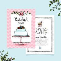 Cute Cartoon Bridal Shower Invitation Template vector