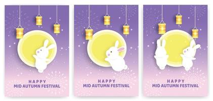 Autumn festival card set with rabbits and moon