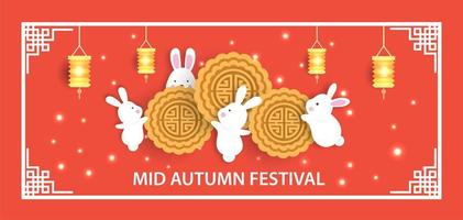 Mid autumn festival banner with cute rabbits vector