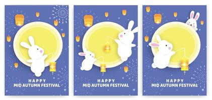 Autumn festival card set with rabbits holding lanterns vector