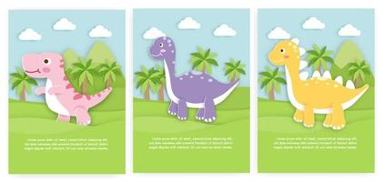 Set of cards with paper cut dinosaurs vector