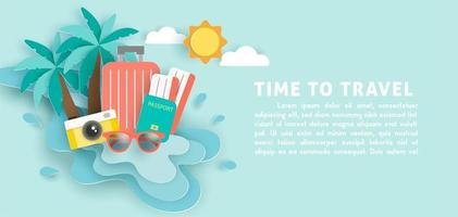 Banner with travel elements in water splash vector