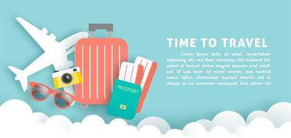 Banner with paper cut style travel elements vector