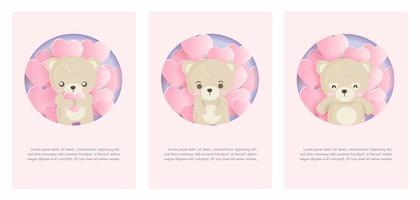 Card set with bear and balloons