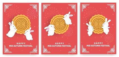 Autumn festival card set with rabbits on red