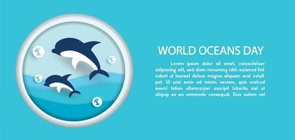 World Oceans Day Banner  vector