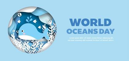 World Oceans Day Banner with Dolphin in Circle