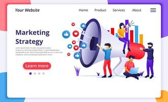 Marketing strategy campaign concept flat style