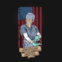 heróis americanos do trabalhador da saúde poster