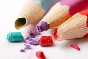 broken coloured pencils