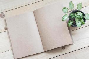 Cuaderno marrón y planta sobre fondo de mesa de madera foto