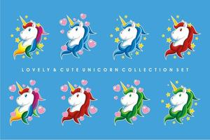 Lovely Cute Unicorn Collection Set vector