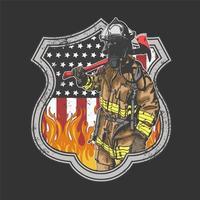 diseño de insignia de bombero americano vector
