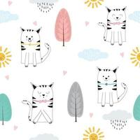 Hand Drawn Seamless Cat Pattern vector