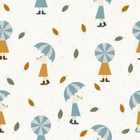 chicas con fondo de paraguas vector