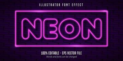 Neon lights signage style editable font effect