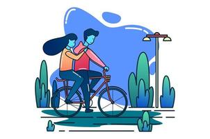 Boy and girl couple riding bicycle together