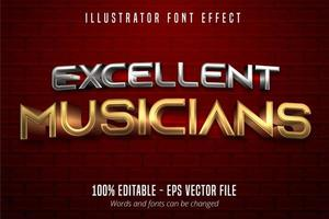 Excellent Musicians text, 3d gold and silver metallic style editable font effect