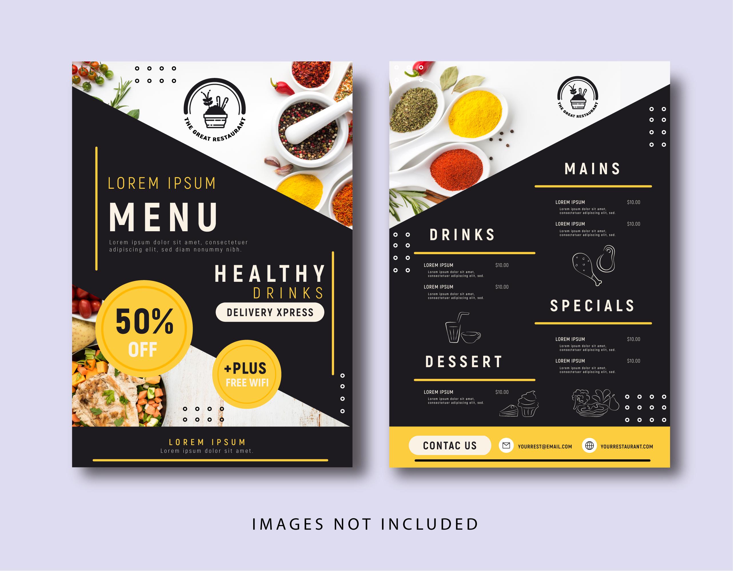 Yellow Color Restaurant Menu Download Free Vectors Clipart Graphics Vector Art