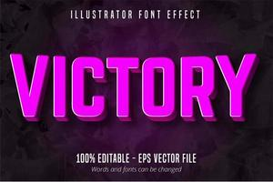 Victory text, 3d purple editable text effect