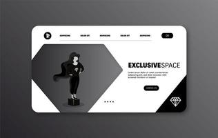 página da web exclusiva preta vetor