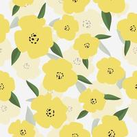 Fresh Yellow Flowers Pattern vector