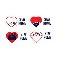 Stay home logo set collection