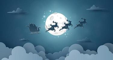 Santa Claus and reindeer flying on the sky with full moon night sky background