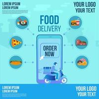 Food delivery design by scooter on a smartphone app order now tracking