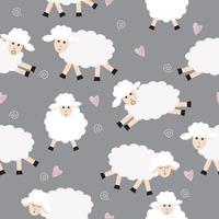 Seamless Sheep Pattern on Gray vector
