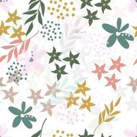 Abstract Pastel Floral and Leaves Pattern