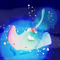 Stingray and rabbit sleeping vector
