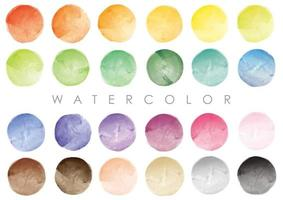 Colorful Round Watercolor Backgrounds Isolated On A White Background. vector