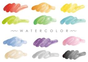 Watercolor Abstract Background Set Isolated On A White Background.