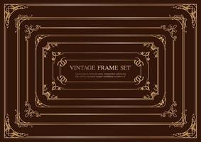 Set Of Seven Gold Rectangular Vintage Frames Isolated On A Dark Background. vector