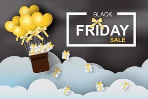 diseño de arte de papel de venta de viernes negro