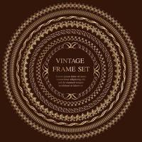 Set Of Seven Gold Round Vintage Frames Isolated On A Dark Background. vector