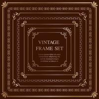 Set Of Seven Gold Square Vintage Frames Isolated On A Dark Background. vector