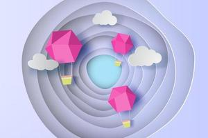 Pink balloon fly air on curve shape blue sky background