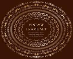 Set Of Seven Gold Oval Vintage Frames Isolated On A Dark Background.  vector