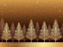 Seamless Snowy Forest Landscape With Text Space.  vector