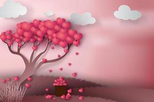 dia dos namorados coração árvore papel design