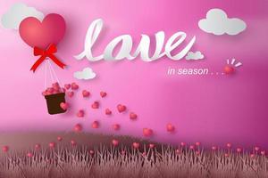 Paper Art Love Design on Pink Background