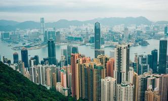 hong kong, china, kowloon, isla de hong kong desde el pico victoria foto
