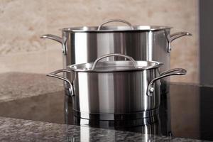 Two aluminum pots on induction hob photo